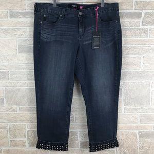 Torrid Jeans Dark Wash Capri Studded Cuffed 20